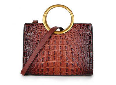 Handtas Pretty Croco bruin bruine giuliano klassieke handtassen rond handvat krokoprint kunstleder kantoor tassen kopen bestellen goud