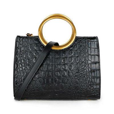 Handtas Pretty Croco zwart zwarte klassieke handtassen rond handvat krokoprint kunstleder giuliano tassen kopen bestellen guod