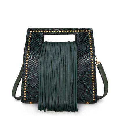Handtas-Snake-Fringe-groen groene-vierkante-slangenprint-tassen-met-fringe-franjes-gouden-stud