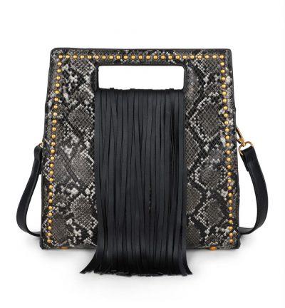 Handtas Snake Fringe zwart zwarte vierkante slangenprint tassen met fringe franjes gouden studs giuliano tassen online kopen luxe trendy