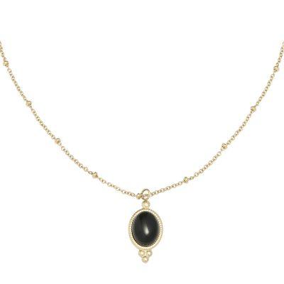 Ketting Mystic Life goud gouden verstelbare dames kettingen zwarte steen vintage necklage sieraden setje musthave kopen