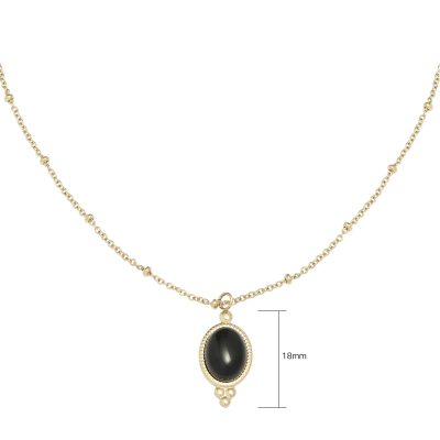 Ketting Mystic Life goud gouden verstelbare dames kettingen zwarte steen vintage necklage sieraden setje musthave kopen detail