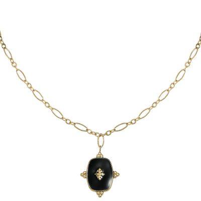 Ketting-Precious-Leaf-goud-gouden-kettingen-zwart zwarte blad-decoratie-statement ketttingen dames-kopen-yehwang-stainless-steel-sieraden