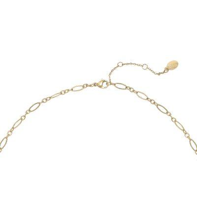 Ketting-Precious-Leaf-goud-gouden-kettingen-zwart zwarte blad-decoratie-statement ketttingen dames-kopen-yehwang-stainless-steel-sieraden slot