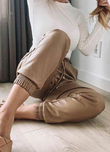 Khaki Leren Jogger faux leather jogger dames broeken trendy joggingbroek leer bestellen fashion