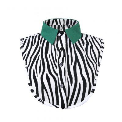 Kraagje Classy Zebra zwart wit dames losse kraag met zebraprint zebra print groene kraag los kragen kleding fashion kopen