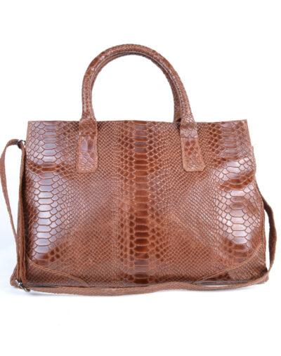 Leren Handtas Luxe Croco bruin bruine ruime lederen handtas kroko croco print giuliano tassen kopen