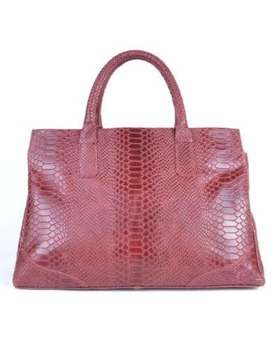 Leren Handtas Luxe Croco rood rode ruime lederen handtas kroko croco print giuliano tassen kopen