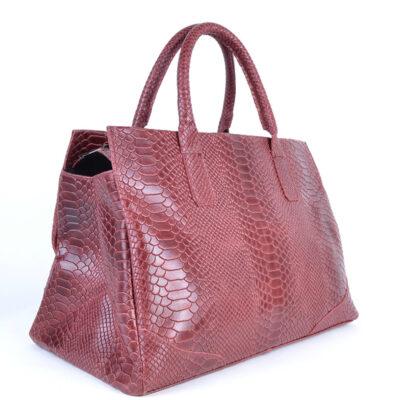 Leren Handtas Luxe Croco rood rode ruime lederen handtas kroko croco print giuliano tassen kopen side