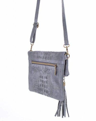Leren Kroko Clutch Must grijs grijze leer clutches schoudertassen met kwastje musthave tassen kopen side