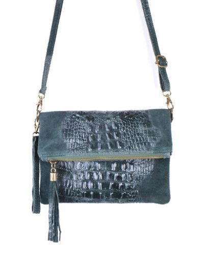 Leren Kroko Clutch Must petrol groen leer clutches schoudertassen met kwastje musthave tassen kopen side