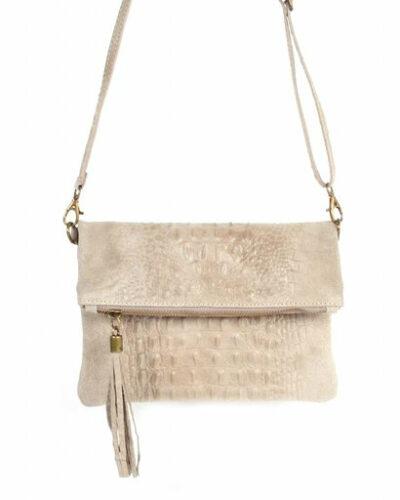 Leren Kroko Clutch Must taupe beige leer clutches schoudertassen met kwastje musthave tassen kopen side