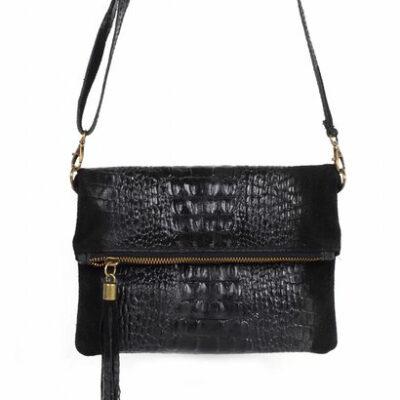 Leren Kroko Clutch Must zwart zwarte leer clutches schoudertassen met kwastje musthave tassen kopen side