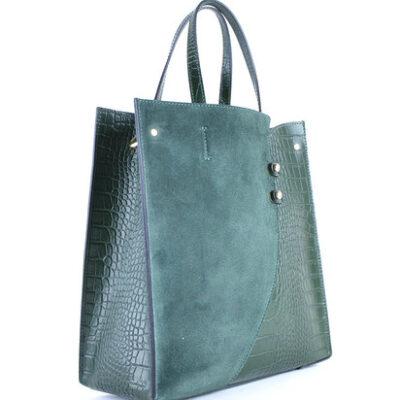 Leren-Tas-Suede-Croco-groen groene-lederen-tasssen-giuliano-kroko-leer-trendy tassen kopen side