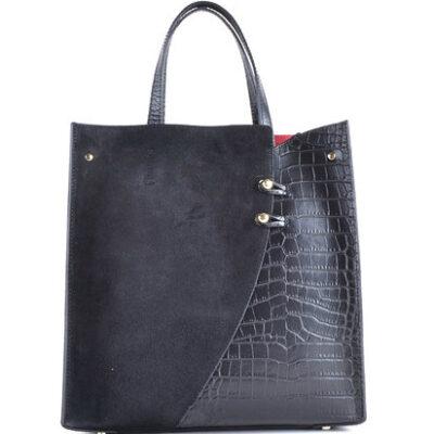 Leren-Tas-Suede-Croco-zwart zwarte-lederen-tasssen-giuliano-kroko-leer-rode voering trendy tassen kopen