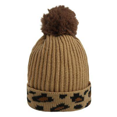 Must-Happy Leopard -Beanie-bruin bruine-dames-mutsen-wollen-bolletje-warme-mutsen-beanies met panter print leopard-online-bestellen-kopen-