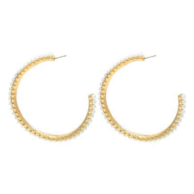 Oorbellen Pearl Hoops goud gouden oorbel met parels oorringen yehwang earrings trendy kopen
