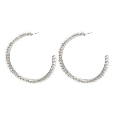 Oorbellen Pearl Hoops zilver zilveren oorbel met parels oorringen yehwang earrings trendy kopen