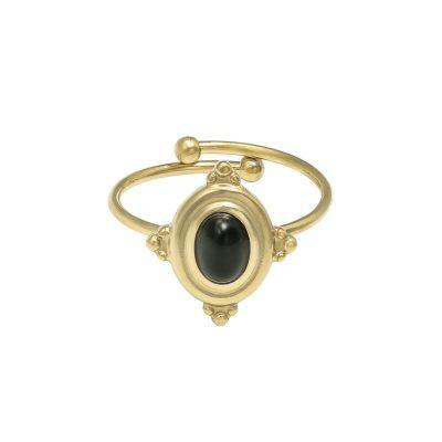 RIng Mystic Life goud gouden verstelbare dames ringen zwarte steen vintage rings sieraden setje musthave kopen