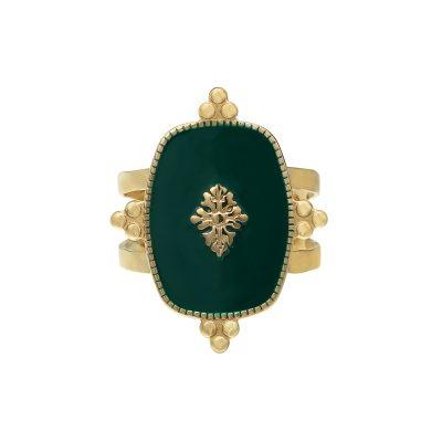 Ring Precious Leaf goud gouden ring groene blad decoratie statementringen kopen yehwang stainless steel sieraden