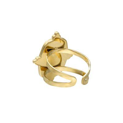 Ring Precious Leaf goud gouden ring groene blad decoratie statementringen kopen yehwang stainless steel sieraden achter