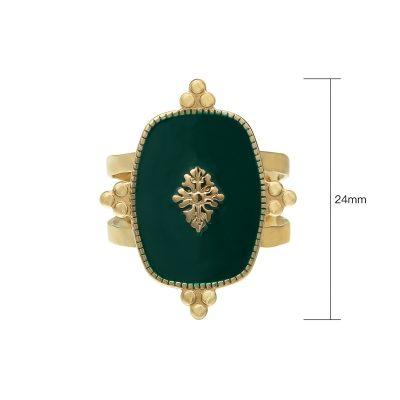 Ring Precious Leaf goud gouden ring groene blad decoratie statementringen kopen yehwang stainless steel sieraden bestellen