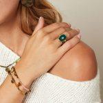 Ring Precious Leaf goud gouden ring groene blad decoratie statementringen kopen yehwang stainless steel sieraden detail
