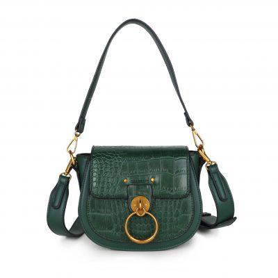 Schoudertas Snake Gold Ring groen groene tassen itbags kunstleder snake giuliano tas luxe trendy kopen
