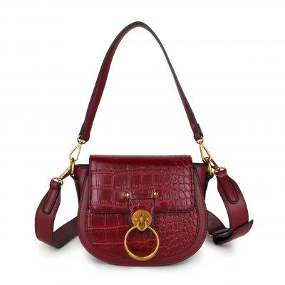 Schoudertas Snake Gold Ring wijn rood rode tassen itbags kunstleder snake giuliano tas luxe trendy kopen