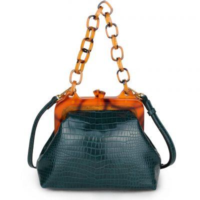 Schoudertas Snake Knip groen groene retro tassen knipsluiting unieke trendy giuliano tassen kopen bestellen kunstleder