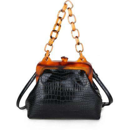 Schoudertas Snake Knip zwart zwarte retro tassen knipsluiting unieke trendy giuliano tassen kopen bestellen kunstleder