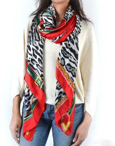Sjaal Fierce Panter grijs grijze leopard print met rode rand trendy fashion sjaals shawls kopen bestellen