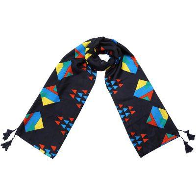 Sjaal Grapic Style blauw blauwe lange trendy staal grafische gekleurde print kwasjes dames shawls omslagdoeken kopen bestellen