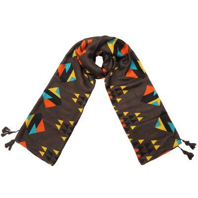 Sjaal Grapic Style bruin bruine lange trendy staal grafische gekleurde print kwasjes dames shawls omslagdoeken kopen bestellen