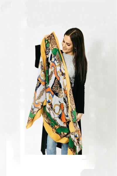 Sjaal Royal geel gele multi kleur print sjaal klassieke trendy goedkoop omslagdoeken kopen bestellen