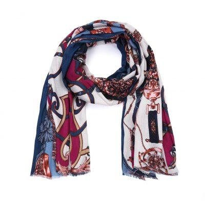 Sjaal Royal navy blauw multi kleur print sjaal klassieke trendy goedkoop omslagdoeken kopen bestellen
