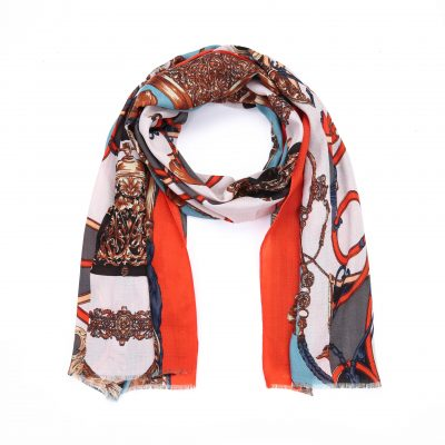 Sjaal Royal oranje cashmere multi kleur print sjaal klassieke trendy goedkoop omslagdoeken kopen bestellen fashion