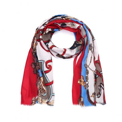 Sjaal Royal rood rode multi kleur print sjaal klassieke trendy goedkoop omslagdoeken kopen bestellen