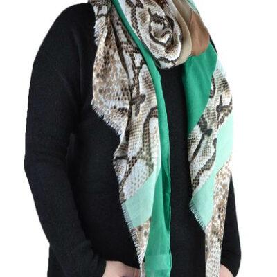 Sjaal pretty mint beige groen slangenprint snakeprint snake shawls grote zomer sjaals kopen bestellen