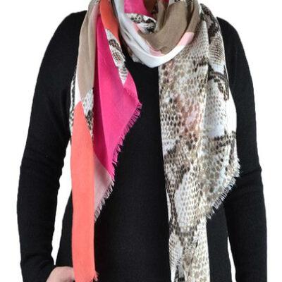 Sjaal pretty snake roze creme slangenprint snakeprint snake shawls grote zomer sjaals kopen bestellen voor