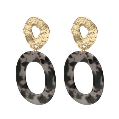 Statement Oorbellen Catch Me zwart zwarte grote oorbellen met gouden acrylluipaardprint bungelend trendy oorbel earring fashion kopen