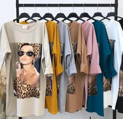Sweaterdress Leopard Kisses meerdere kleuren lange sweaters met trendy print lange mouwen fashion kopen