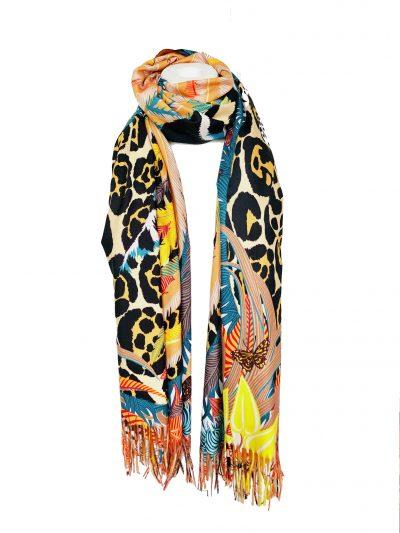 Duo Sjaal Colorful Paradise geel gele 1 kant multi gekleurde sjaal andere kant zwarte sjaal winter musthaves giuliano sjaals omslagdoeken