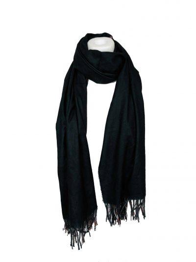Duo Sjaal Colorful Paradise geel zwart 1 kant multi gekleurde sjaal andere kant zwarte sjaal winter musthaves giuliano sjaals omslagdoeken