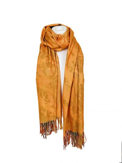 Duo Sjaal Colorful Paradise gele geel 1 kant multi gekleurde sjaal andere kant zwarte sjaal winter musthaves giuliano sjaals omslagdoeken