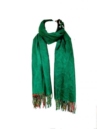 Duo Sjaal Colorful Paradise groene groen 1 kant multi gekleurde sjaal andere kant zwarte sjaal winter musthaves giuliano sjaals omslagdoek