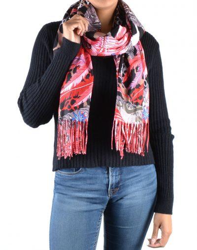 Duo Sjaal Colorful Paradise rood rode 1 kant multi gekleurde sjaal andere kant zwarte sjaal winter musthaves giuliano sjaals omslagdoeken