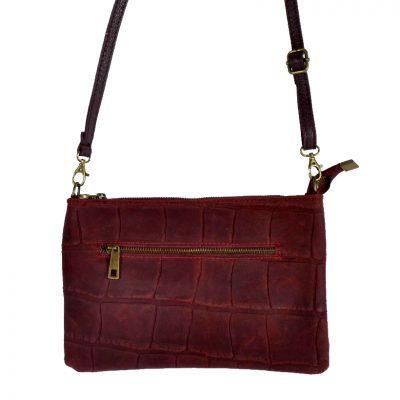 Leren-Clutch-My-Croco-donker rood- rode dames-clutches-schoudertassen-leren-hengsel-kroko-print-leder-giuliano-kopen achter