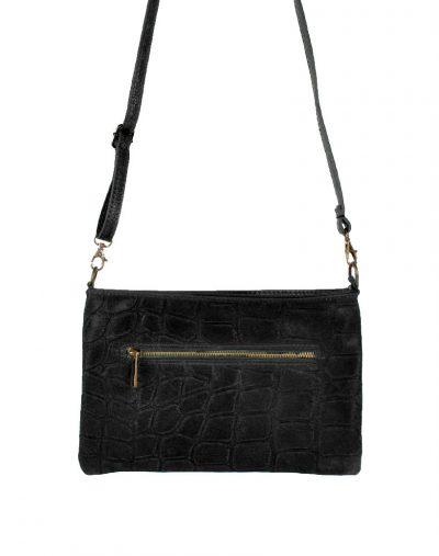 Leren-Clutch-My-Croco-zwart zwarte-dames-clutches-schoudertassen-leren-hengsel-kroko-print-leder-giuliano-kopen achter