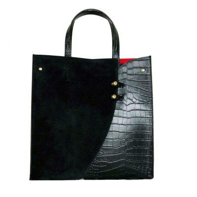 Leren Handtas Suede Croco zwart zwarte lederen tasssen giuliano kroko leer rode voering klassieke classy leather bags kopen